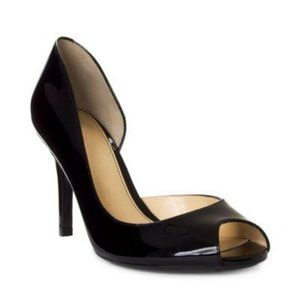 Marc Fisher Joey Black Patent Leather D'Orsay Peep Toe High Heels